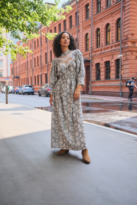 Midi dress with a decorated elements