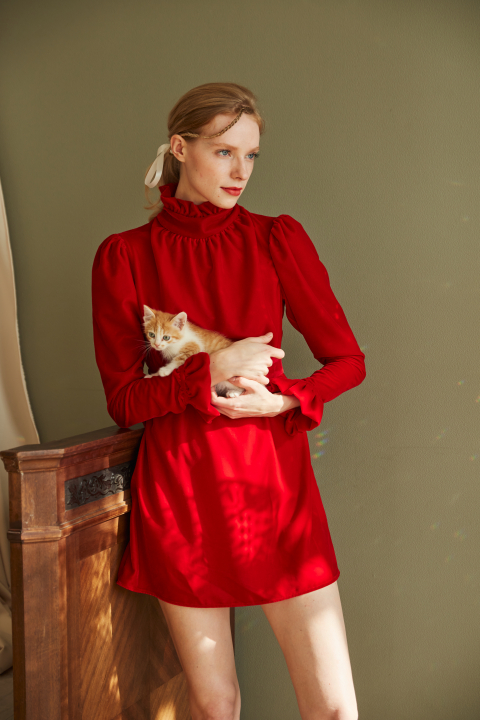 Mini dress with a stand-up collar made of red velvet