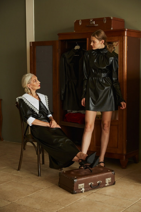 Mini dress with stand-up collar made of eco leather